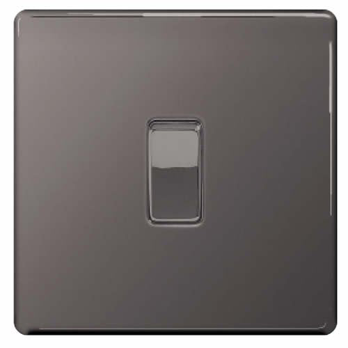 BG Nexus FBN12 Screwless Flat Plate Black Nickel 10A 1G 2 Way Plate Switch - BG - sparks-warehouse