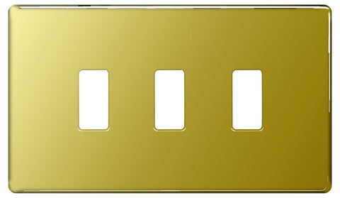 BG Nexus GFPB3 Grid Polished Brass Screwless 3 Gang Front Plate
