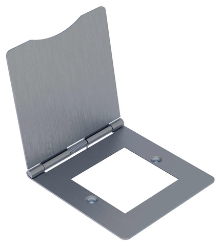 BG SBSEMS2/FR SCREWED Flat Plate Brushed Steel FLR MNT TWIN EURO Module  DBL Front Plate HINGED COVER