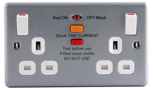 BG MC522RCD Metal Clad 13A 2 Gang Switched Socket With RCD - BG - sparks-warehouse