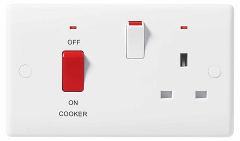 BG Nexus 870 45A Double Pole Cooker Control Unit 13A Switched Socket With Indicator