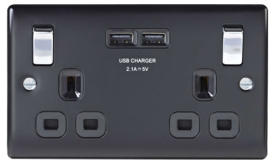 BG Nexus NMB22U3B Metal Matt Black & Chrome Double Plug Socket Switched - 2 Gang - BG - Sparks Warehouse