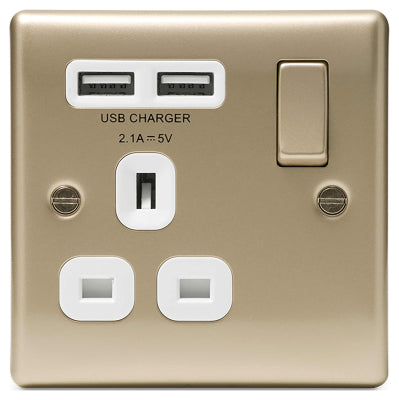 BG Nexus NPR21U2W Pearl Nickel 13A 1 Gang Socket with White Insert and 2 USB - BG - Sparks Warehouse