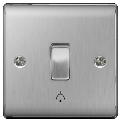 BG Nexus NBS14 Brushed Steel 10AX Bell Push
