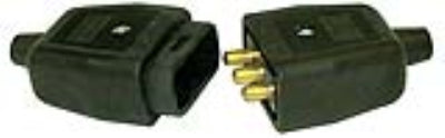 BG NC103B 10A 3 Pin Heavy Duty In Line Rubber Connector - Black - BG - sparks-warehouse