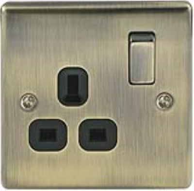 BG Nexus NAB21B Metal Antique Brass Switched 13A Single 1 Gang Plug Socket - BG - Sparks Warehouse