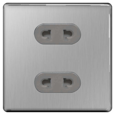 BG FBS98G Screwless Flat Plate Brushed Steel 16A 2 Gang EURO Socket Shuttered - Grey Insert
