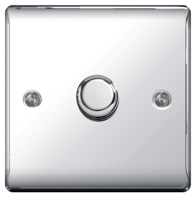 BG Nexus NPC81P Chrome 400W 1 Gang 2 Way Push Dimmer