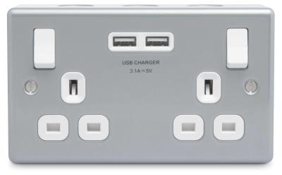 BG MC522U Metal Clad13A 2 Gang Switched Socket With USB - BG - Sparks Warehouse