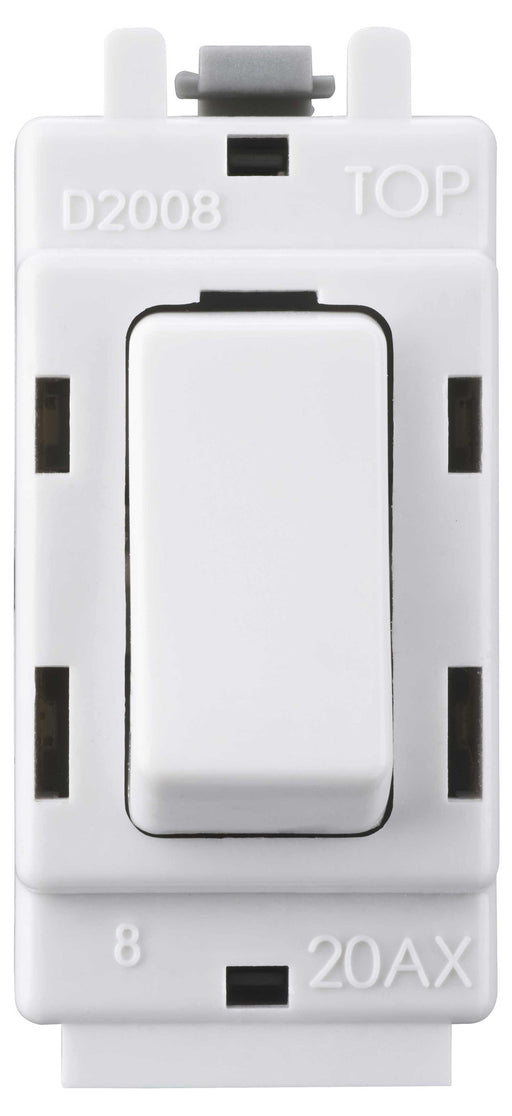 BG Nexus G12 Grid 20AX 2 Way Single Pole Switch Module  White