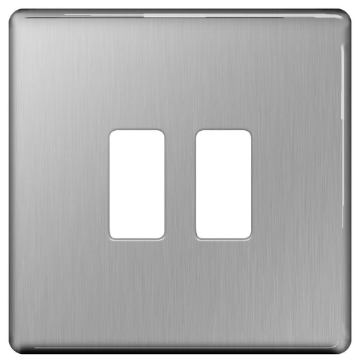 BG Nexus GFBS2 Grid Brushed Steel SCREWLESS 2 Gang Front Plate