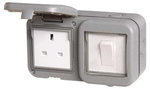 BG WPB21 Weatherproof IP55 13A 1 Gang UK Socket With 1 Gang Switch
