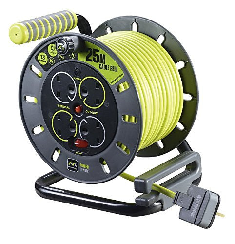 BG Masterplug OMU25134SL-PX - Pro XT 4 Gang Medium Open Cable Reel with Switch and LED 25m - BG - Sparks Warehouse