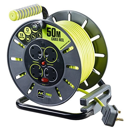 BG Masterplug OLU50134SL-PX - Pro XT 4 Gang 50m Large Open Cable Reel with Switch and LED - BG - Sparks Warehouse