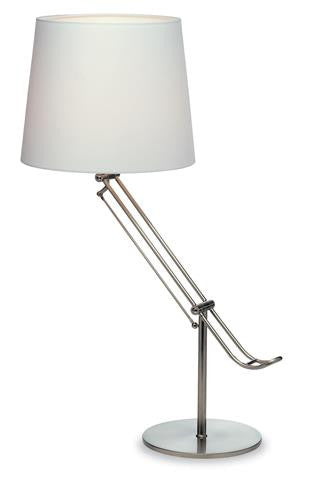 Firstlight 5489BS Polo Table Lamp - Brushed Steel/White Cotton Shade - Firstlight - sparks-warehouse
