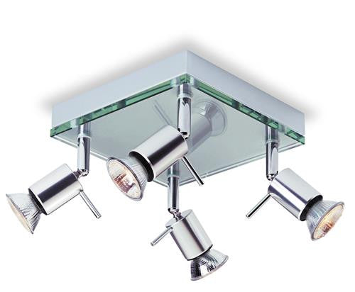 Firstlight 5514AL Aqua 4 Light Flush - Aluminium with Clear Glass - Firstlight - sparks-warehouse