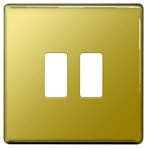 BG Nexus GFPB2 Grid Polished Brass SCREWLESS 2 Gang Front Plate