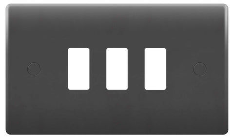 BG Nexus GPM3-01 PART M Grid 3 Gang Front Plate - Grey
