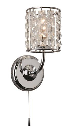 Firstlight 6150CH Pearl Single Wall Light (Switched) - Chrome with Crystal - Firstlight - sparks-warehouse