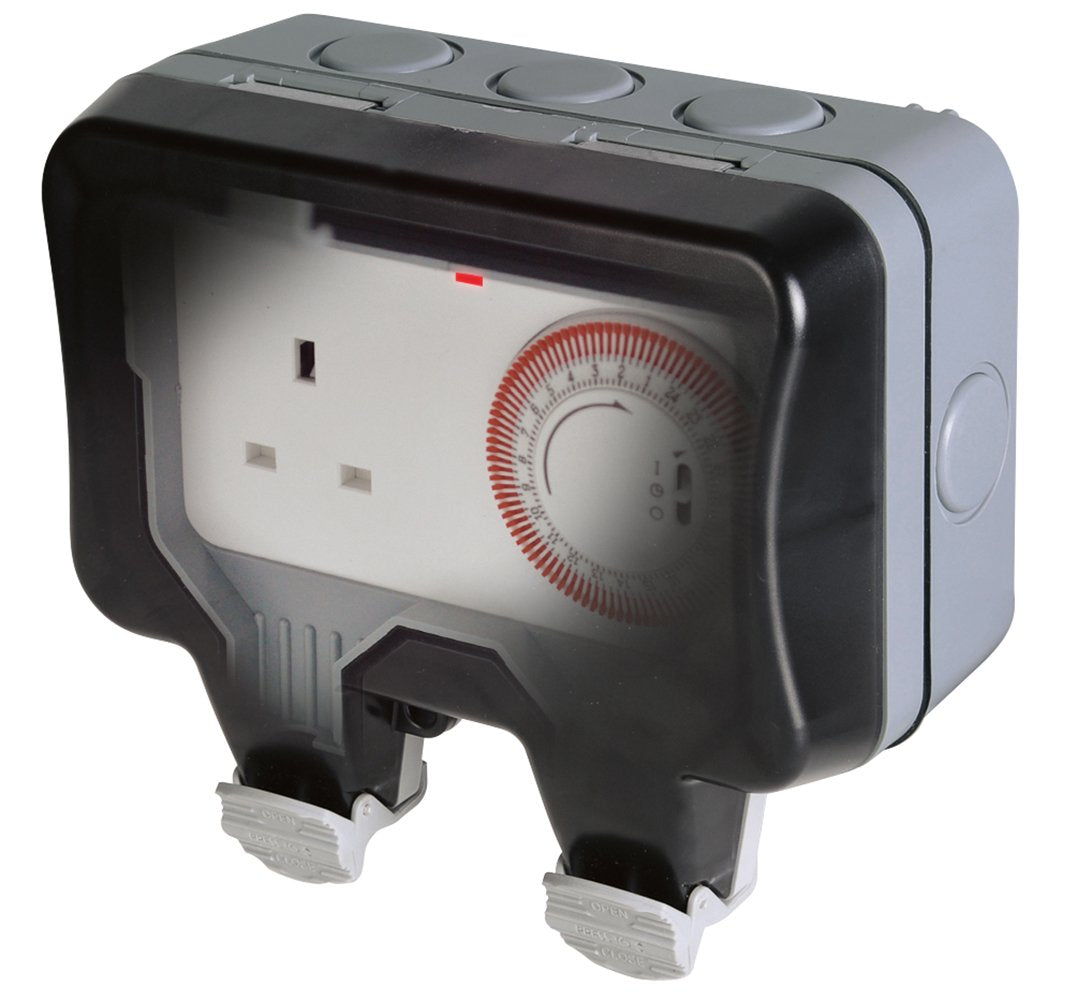 BG Nexus Storm WP23TM24 Weatherproof 13A 1 Gang Double Pole Unswitched Socket And Mechanical 24HR Timer - BG - sparks-warehouse