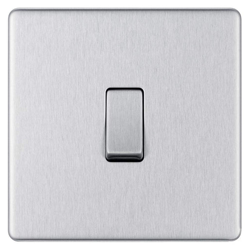 BG FBS12 Screwless Flat Plate Brushed Steel 10A 1 Gang 2 Way Plate Switch - BG - sparks-warehouse