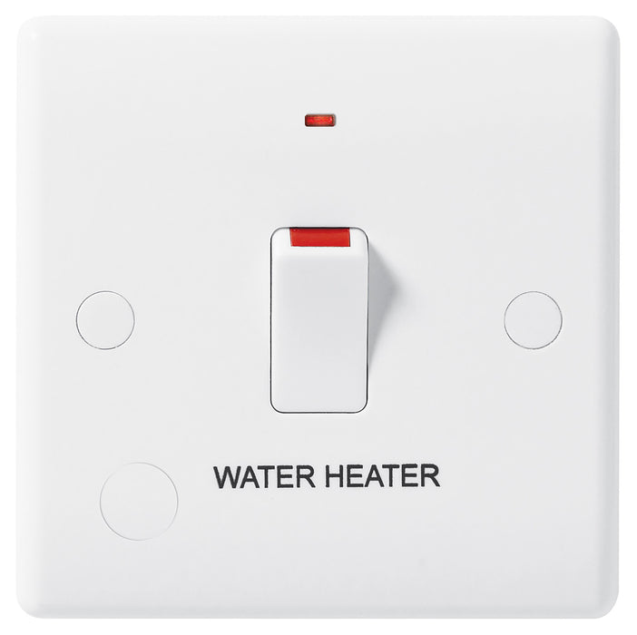 BG Nexus 833WH 20A Double Pole Switched With Indicator FLEX Outlet Labelled  *WATER HEATER* DEEP - BG - sparks-warehouse