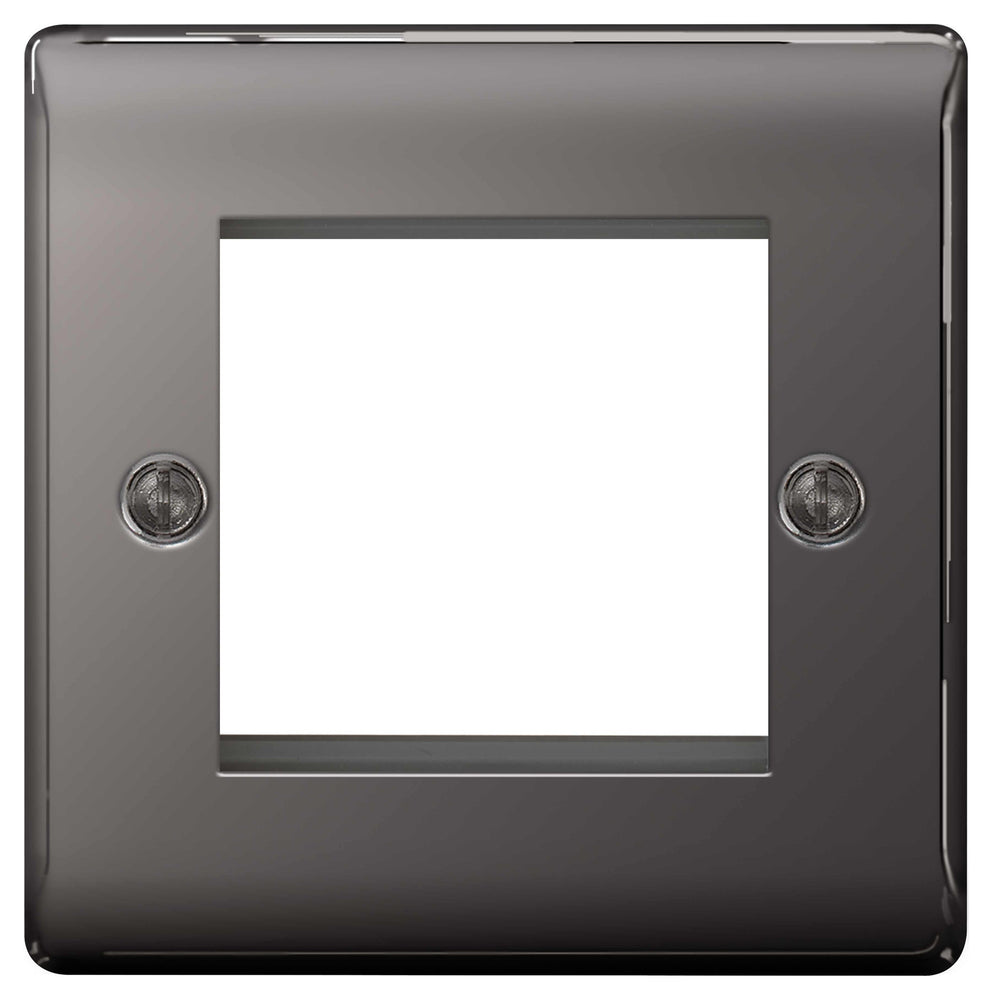 BG Nexus NBNEMS2 Black Nickel 2 Module  Front Plate (50 X 50) - BG - sparks-warehouse