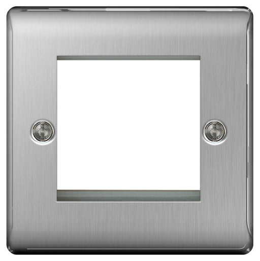BG Nexus NBSEMS2 Brushed Steel 2 Module  Front Plate (50 X 50) - BG - sparks-warehouse
