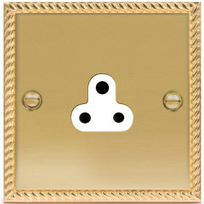 BG NBG28W Georgian Brass 2A 1 Gang Unswitched Socket White Surround