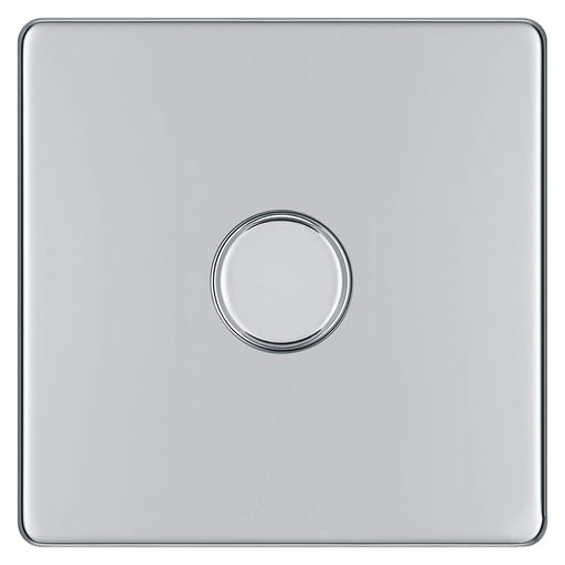 BG FPC81P Screwless Flat Plate Polished Chrome 400W 1G 2 Way Push Dimmer - BG - sparks-warehouse