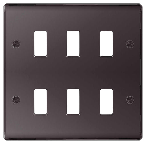 BG Nexus GNBN6 Grid Black Nickel 6 Gang Front Plate - BG - sparks-warehouse
