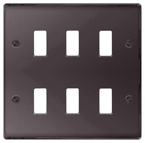 BG Nexus GNBN6 Grid Black Nickel 6 Gang Front Plate