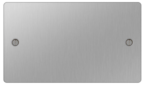 BG SBS95 Flat Plate Brushed Steel 2 Gang Blank Plate