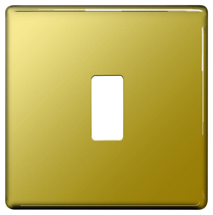 BG Nexus GFPB1 Grid Polished Brass SCREWLESS 1 Gang Front Plate - BG - sparks-warehouse