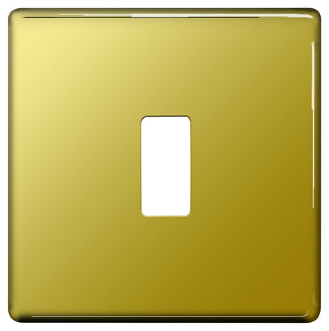 BG Nexus GFPB1 Grid Polished Brass SCREWLESS 1 Gang Front Plate
