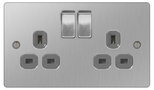BG SBS22G Flat Plate Brushed Steel 2 Gang Switched Socket - BG - sparks-warehouse