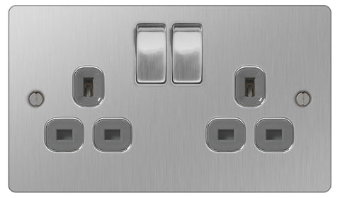 BG SBS22G Flat Plate Brushed Steel 2 Gang Switched Socket