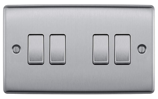 BG Nexus NBS44 Brushed Steel 10AX 4 Gang 2 Way Plate Switch