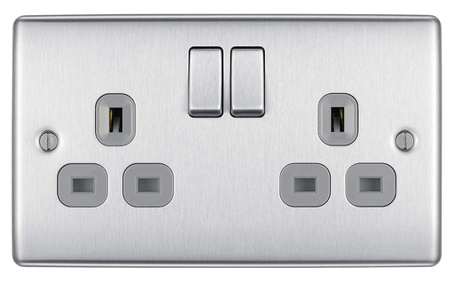 BG Nexus NBS22G 2 Gang Brushed Steel 13A Socket - Grey Inserts