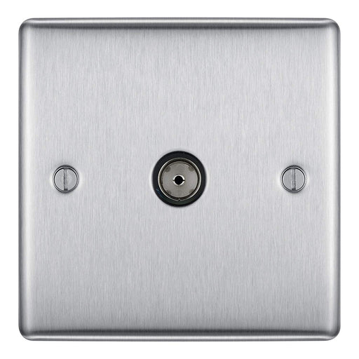 BG Nexus NBS60 Brushed Steel 1 Gang Co-Axial Socket - BG - sparks-warehouse