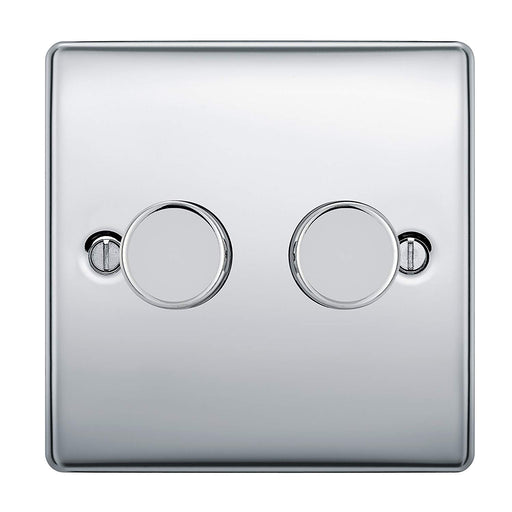 BG Nexus NPC82P Polished Chrome 400W 2 Gang 2 Way Push Dimmer - BG - sparks-warehouse