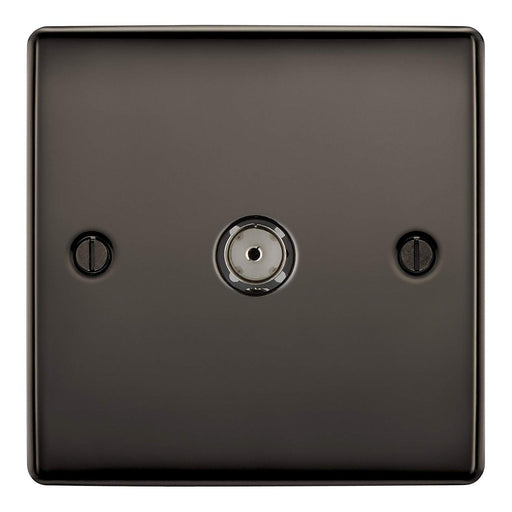 BG Nexus NBN60 Black Nickel 1 Gang Co-Axial Socket - BG - sparks-warehouse