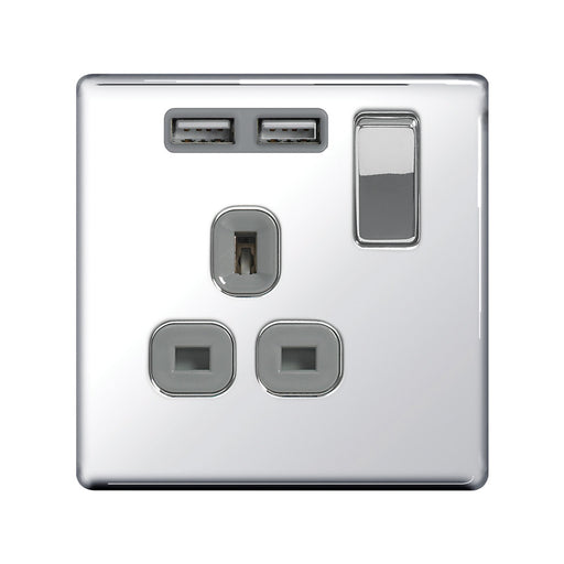BG FPC21U2G Screwless Flat Plate Polished Chrome Flat Plate 13A 1G Switched Socket with USB