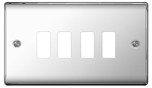 BG Nexus GNPC4 Grid Chrome 4 Gang Front Plate - BG - sparks-warehouse