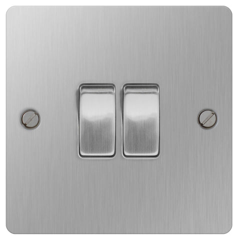 BG SBS42 Flat Plate Brushed Steel 10A 2 Gang 2 Way Plate Switch