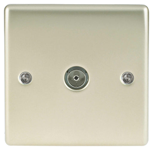 BG Nexus NPR60 Metal Pearl Nickel Single 1 Gang Co Axial (TV) Outlet - BG - Sparks Warehouse