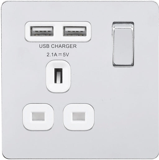 BG FPC21UW Screwless Flat Plate Polished Chrome Flat Plate Switched 1G 13A Socket - USB