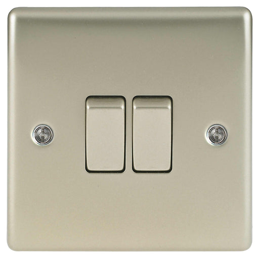 BG Nexus NPR42 Metal Pearl Nickel Light Switch Plate - Double 2 Gang 2 Way - BG - Sparks Warehouse