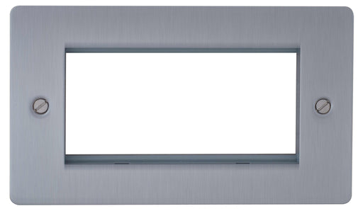 BG SBSEMR4 Screwed Flat Plate Brushed Steel Quad Euro Module Double Front Plate - BG - sparks-warehouse
