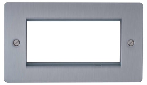 BG SBSEMR4 Flat Plate Brushed Steel Quad Euro Module Double Front Plate